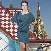 Одежда handmade. Livemaster - original item Dress Lotus turquoise blue, Jersey dress, dress warm Angora. Handmade.