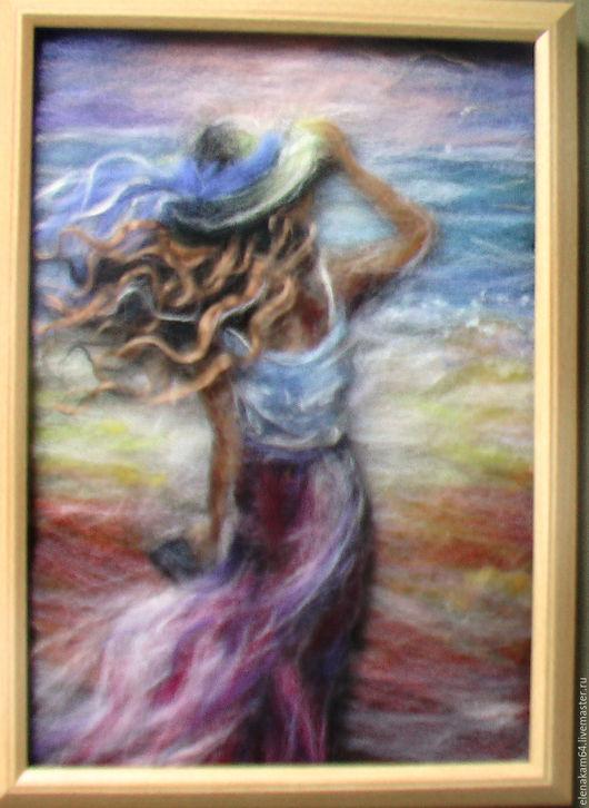 """Пейзаж ручной работы. Ярмарка Мастеров - ручная работа. Купить картина из шерсти""""Морской воздух"""". Handmade. Картина в подарок, морской стиль"""