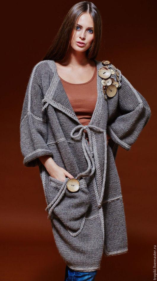 Верхняя одежда ручной работы. Ярмарка Мастеров - ручная работа. Купить Пальто вязаное авторское. Handmade. Коричневый, деревянные пуговицы