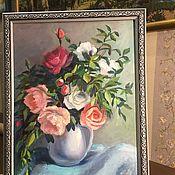 Картины и панно handmade. Livemaster - original item Painting still Life with roses 40h30. Handmade.