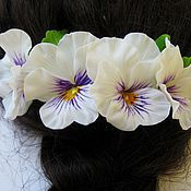 """Свадебный салон ручной работы. Ярмарка Мастеров - ручная работа """"Анютины глазки"""" гребень для волос. Handmade."""