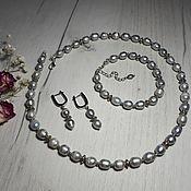 Украшения handmade. Livemaster - original item Necklace and earrings in grey Baroque. pearls