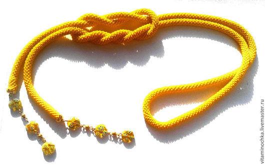 украшение ручной работы, желтый лариат из бисера, необычный подарок, лариат, лариат купить, желтый, лариат из бисера желтый