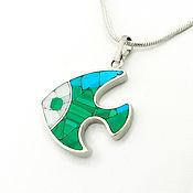 Украшения handmade. Livemaster - original item Pendant Fish. Pendant with turquoise, malachite, mother of pearl.. Handmade.