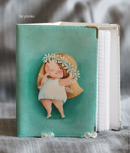Блокнот кожаный с  блондинкой-ромашкой от Elina Ellis  Магазин волшебных феечек. FairyKalinka http://www.livemaster.ru/kvantik