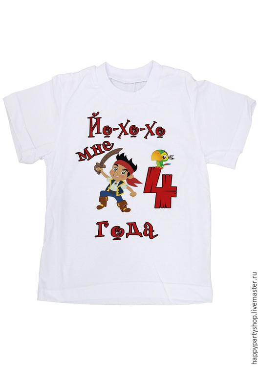 """Одежда для мальчиков, ручной работы. Ярмарка Мастеров - ручная работа. Купить Детская футболка """"Джек и пираты в Нетландии"""". Handmade. Белый"""