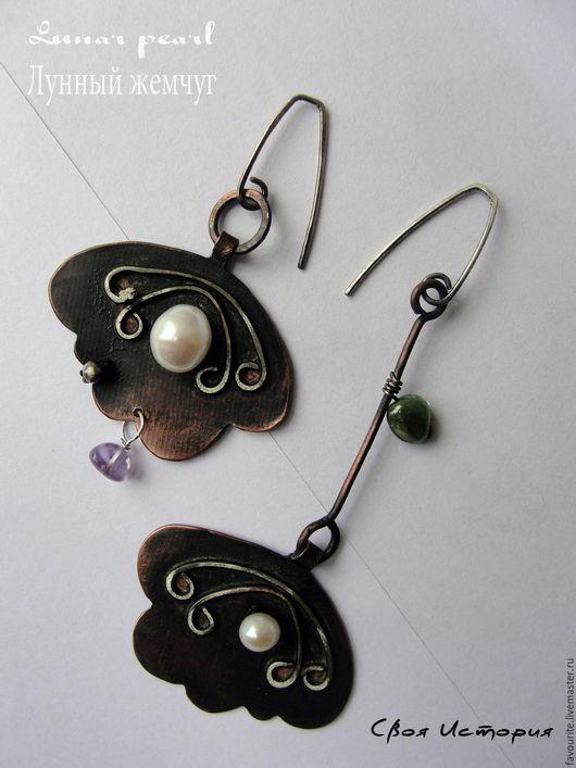 Серьги ручной работы. Ярмарка Мастеров - ручная работа. Купить Серьги-цветы из коллекции украшений «Lunar pearl» Лунный жемчуг. Handmade.