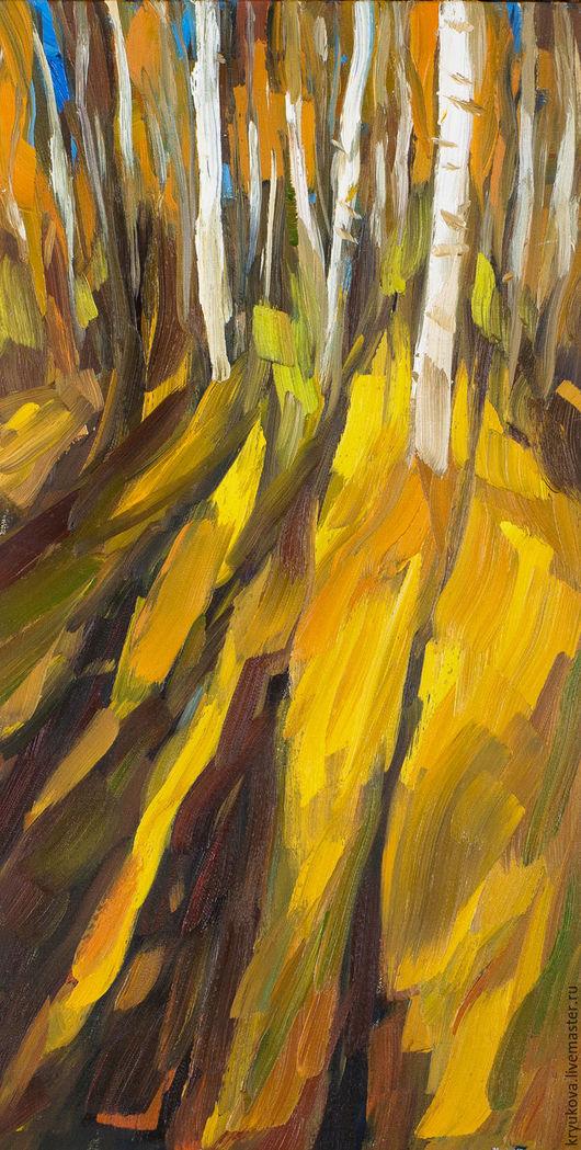 Картина масло пейзаж осень Тени и белые березы Картина березовая роща Картина осенний пейзаж купить Березы картина Осень пейзаж картина