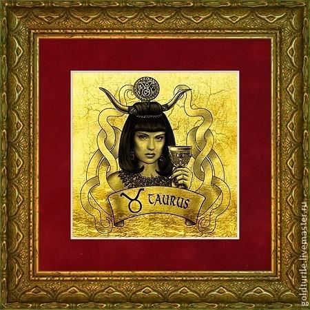 """Подарки по знакам Зодиака ручной работы. Ярмарка Мастеров - ручная работа. Купить Подарок """"Знаки Зодиака, Амазонки. Телец"""" картина из золота. Handmade."""