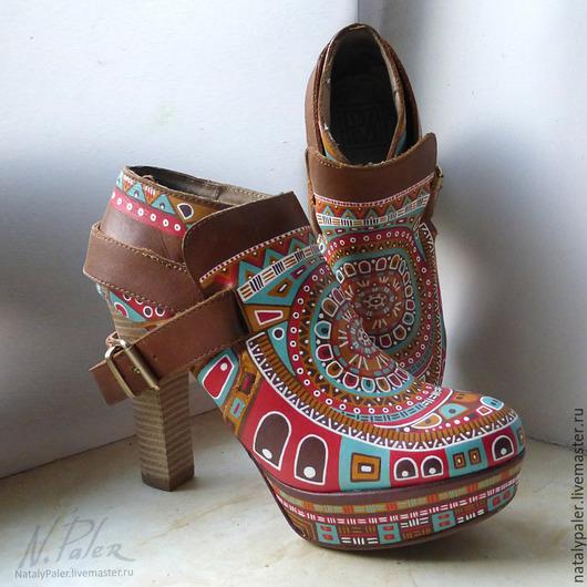 Обувь ручной работы. Ярмарка Мастеров - ручная работа. Купить Роспись по обуви. Ботильоны «Мексика». Handmade. Разноцветный, mexico