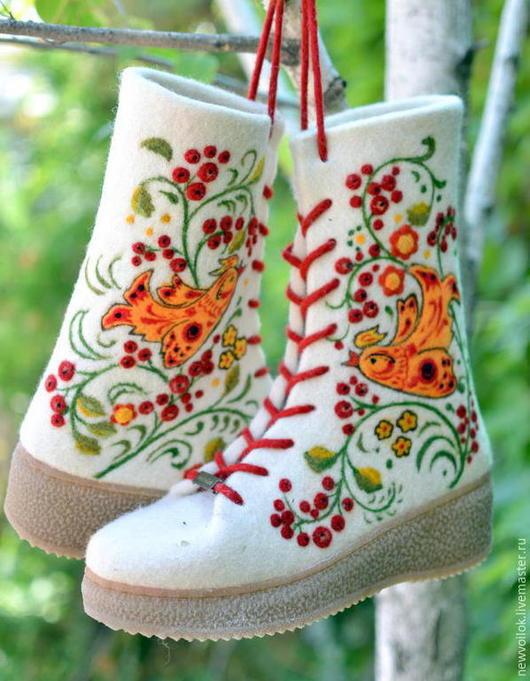 Зимняя обувь. Женские ботинки Русский стиль валяные. NewVoilok. Ярмарка мастеров. Женская обувь, валенки, валяные ботинки.