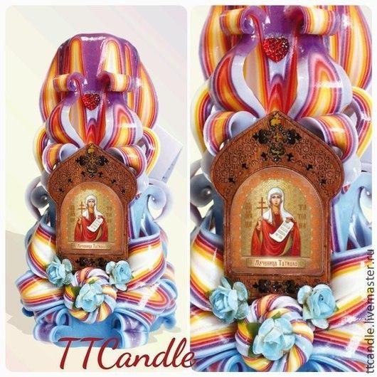 Резная свеча с иконой Св. мученицы Татьяны. Высота свечи 18см. Возможно любое сочетание цвета свечи по Вашему желанию. Замечательный подарок всем православным Татьянам. Возможен заказ свечи с именными