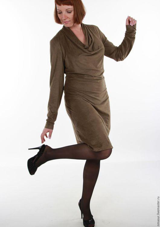 Платья ручной работы. Ярмарка Мастеров - ручная работа. Купить Платье из искусственной замши. Handmade. Хаки, авторское платье