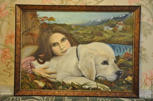"""Люди, ручной работы. Ярмарка Мастеров - ручная работа. Купить Картина маслом """"Девочка с собакой"""". Handmade. Хаки, ранняя осень"""