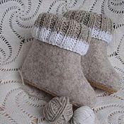 Работы для детей, ручной работы. Ярмарка Мастеров - ручная работа Валяные домашние сапожки в эко-стиле. Handmade.