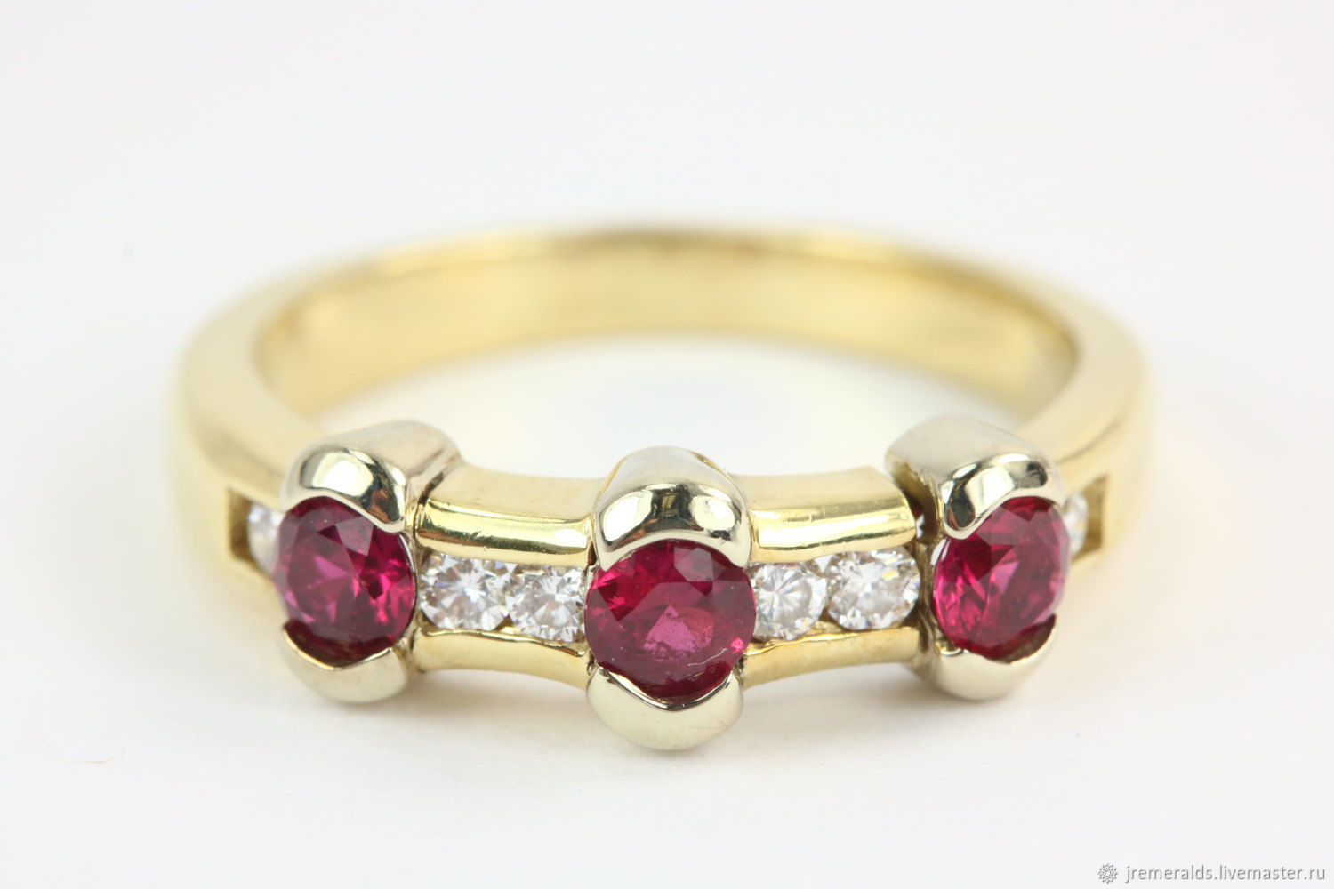 AAA+ Ruby & Diamond 14K Band, Ruby Ring Band, Natural Ruby Ring Band,, Rings, West Palm Beach,  Фото №1