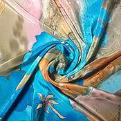 """Аксессуары ручной работы. Ярмарка Мастеров - ручная работа Платок """"Бирюза-латте"""" батик. Handmade."""
