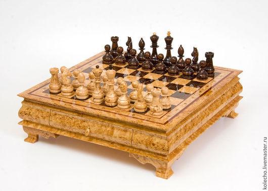 Настольные игры ручной работы. Ярмарка Мастеров - ручная работа. Купить Шахматы из карельской березы. Handmade. Коричневый, подарок, дерево
