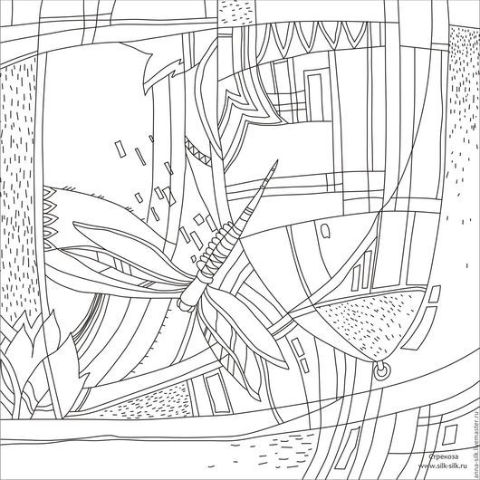 Ярмарка  Мастеров. Купить Шаблон для росписи `Стрекоза` 90*90см. Инструменты для творчества. Шаблон для росписи `Стрекоза` 90*90см. Инструменты для батика. Калька для батика.