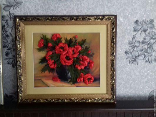 Картины цветов ручной работы. Ярмарка Мастеров - ручная работа. Купить Картина вышитая лентами. Handmade. Комбинированный, картина для интерьера