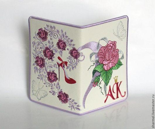 """Обложка для автодокументов женская вышитая """"Розовая мечта"""" . \r\nПолезные вещицы от Шармель-ки"""