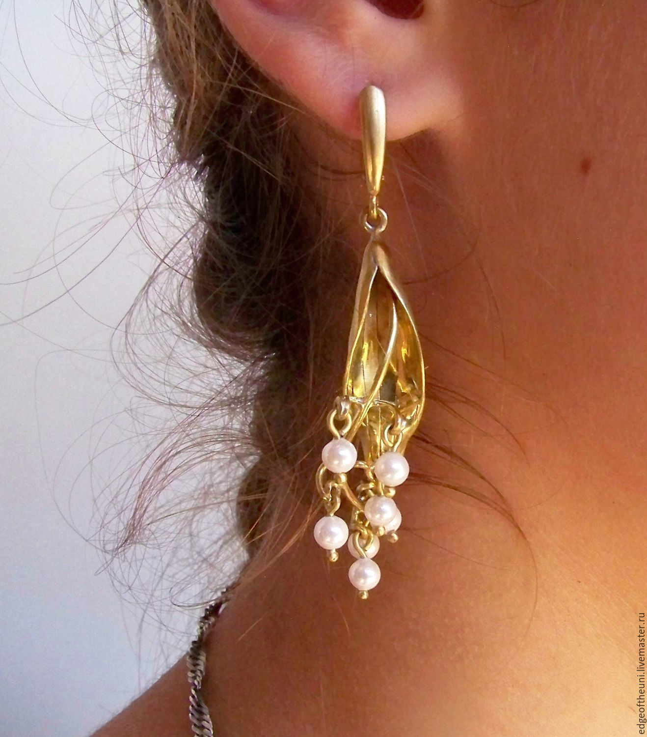 Earrings Handmade Livemaster Wire Wrap Lily