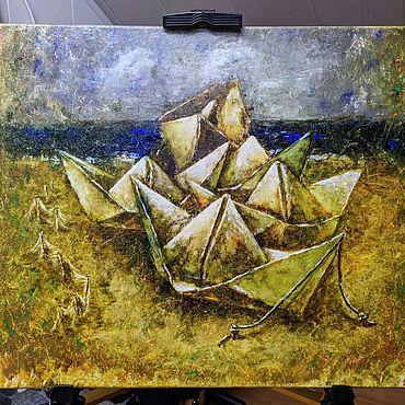"""Картины и панно ручной работы. Ярмарка Мастеров - ручная работа """" Пристань бумажных кораблей"""". Handmade."""