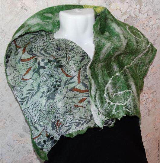 Шарфы и шарфики ручной работы. Ярмарка Мастеров - ручная работа. Купить Шарфик валяный зелёный. Handmade. Ярко-зелёный