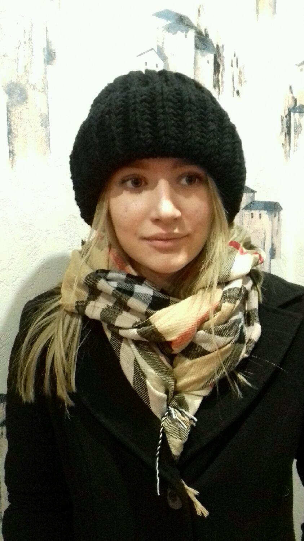 шапка вязаная женская черная шапка шерстяная модная шапка зимняя