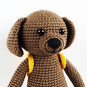 Куклы и игрушки handmade. Livemaster - original item Knitted toy dog with backpack. Handmade.