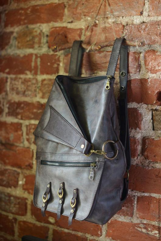 Рюкзаки ручной работы. Ярмарка Мастеров - ручная работа. Купить Рюкзак кожаный Zipper. Handmade. Серый, рюкзак городской