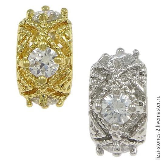 Бусина плоская ежик золото и серебро (Milano) Евгения (Lizzi-stones-2)