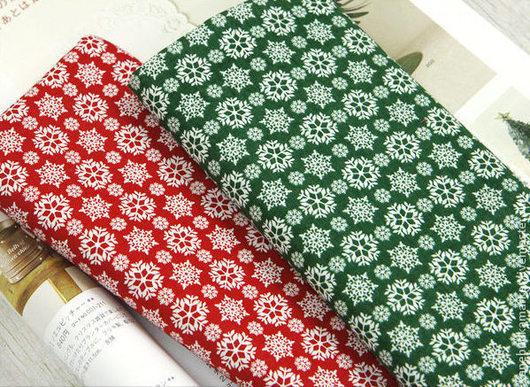 """Шитье ручной работы. Ярмарка Мастеров - ручная работа. Купить Ткань хлопок """"Снежинки"""" (красный и зеленый). Handmade. Хлопок, хлопок"""
