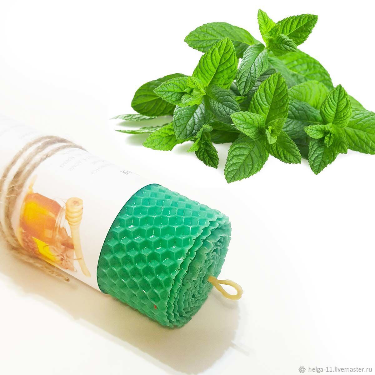 Honey candle-Green with mint 13h4,7,  cm, Candles, St. Petersburg,  Фото №1