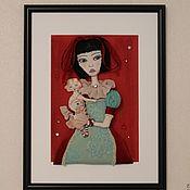 Картины и панно ручной работы. Ярмарка Мастеров - ручная работа Девушка с куклой. Handmade.