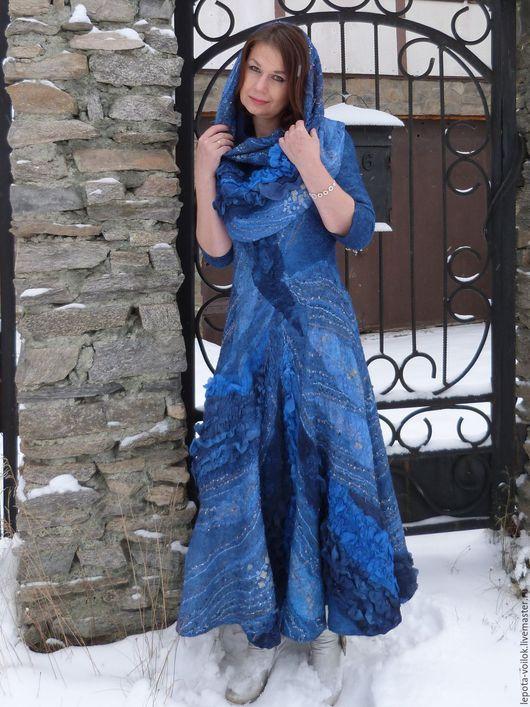 """Платья ручной работы. Ярмарка Мастеров - ручная работа. Купить Валяное платье и снуд """"Блеск далёких звезд"""". Handmade. Синий"""