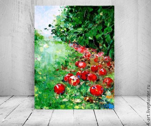 Пейзаж ручной работы. Ярмарка Мастеров - ручная работа. Купить Яблоки. Handmade. Ярко-красный, яблоки, картина в интерьер