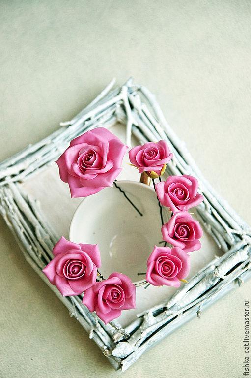 Заколки ручной работы. Ярмарка Мастеров - ручная работа. Купить Комплект шпилек Розы цвета помадки. Handmade. Розовый