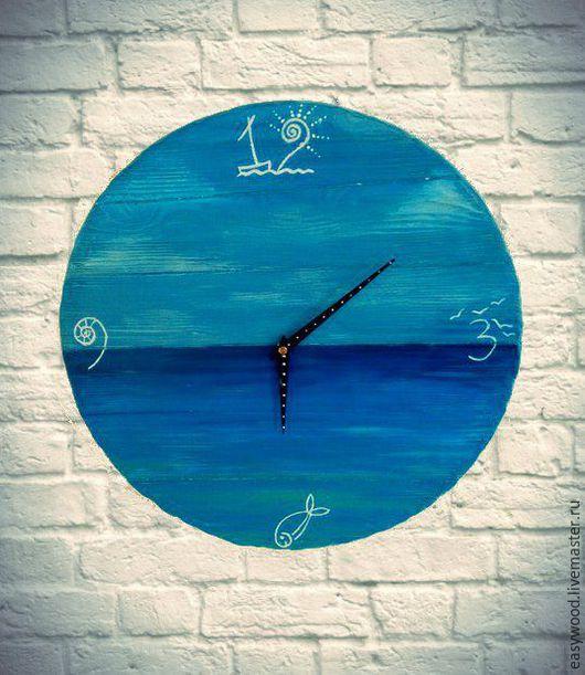 """Часы для дома ручной работы. Ярмарка Мастеров - ручная работа. Купить Часы настенные """"Океан"""". Handmade. Синий, океан, интерьер"""