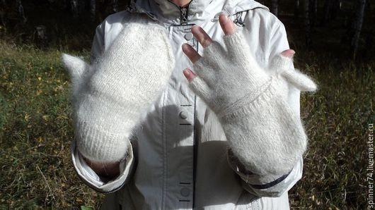 Варежки, митенки, перчатки ручной работы. Ярмарка Мастеров - ручная работа. Купить Варежки митенки из собачьей шерсти (пуха). Handmade.