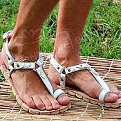 Обувь ручной работы handmade. Livemaster - original item mens greek sandals white leather. Handmade.