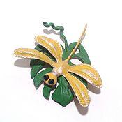"Украшения handmade. Livemaster - original item Желто-зеленая брошь из кожи ""Стрекоза"". Handmade."