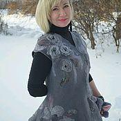 Одежда ручной работы. Ярмарка Мастеров - ручная работа Заказать Жилет валяный серый шерсть 100% шёлк. Handmade.
