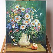 Картины и панно handmade. Livemaster - original item Oil painting. bouquet with daisies. Free copy of Lukiyanov`s painting.. Handmade.