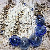 Украшения manualidades. Livemaster - hecho a mano Collar Azul es el color de las perlas .Lempvork. Handmade.