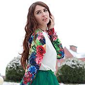 Одежда ручной работы. Ярмарка Мастеров - ручная работа Цветочный свитшот и юбка фатин тёмно-зелёный. Handmade.