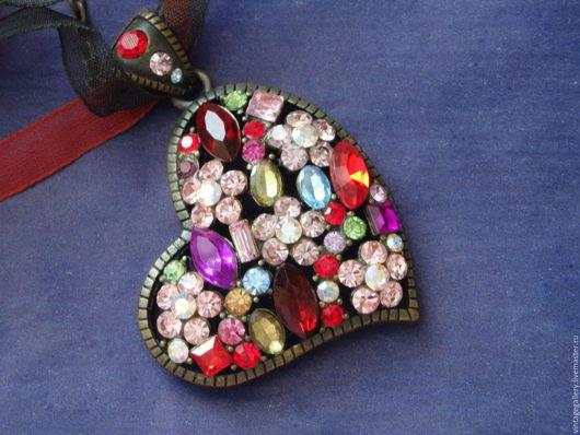 """Винтажные украшения. Ярмарка Мастеров - ручная работа. Купить %Колье """"Сверкающее сердце"""" из США, 80-е годы (КО-227). Handmade."""