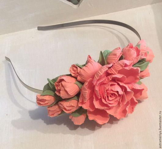 Диадемы, обручи ручной работы. Ярмарка Мастеров - ручная работа. Купить Свадебный обруч Роза персиковая из полимерной глины. Handmade.