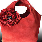 Сумки и аксессуары handmade. Livemaster - original item Bag and brooch(2B 1) Red poppy(red suede bag).. Handmade.