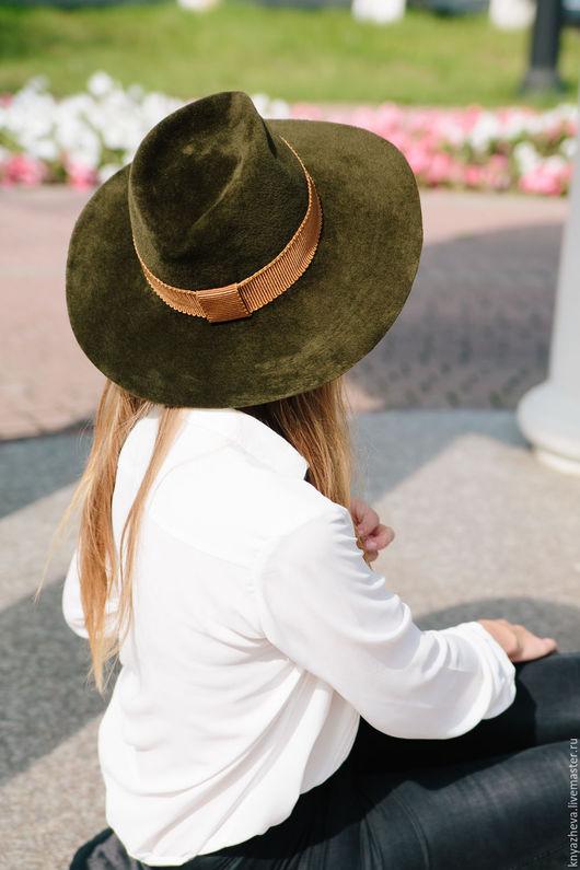 """Шляпы ручной работы. Ярмарка Мастеров - ручная работа. Купить Шляпа из велюра """"Счастье"""".. Handmade. Хаки, шляпа с большими полями"""